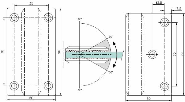 Stainless Steel Glass Door Hinge Wall Mounted
