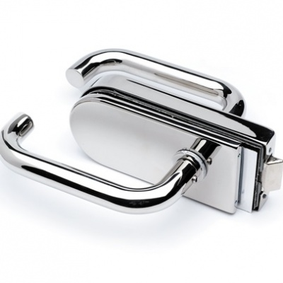 Stainless Steel Glass Door Latch With Lever Handles Wall