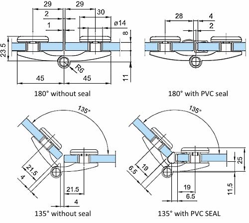 Half Round Frameless Shower Door Hinge Glass To Glass