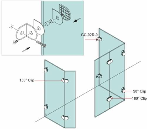 Round Wall To Glass Clip With Offset Fixing Plate