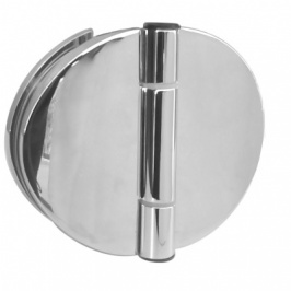 Half Round Frameless Shower Door Hinge - Glass to Glass Mount