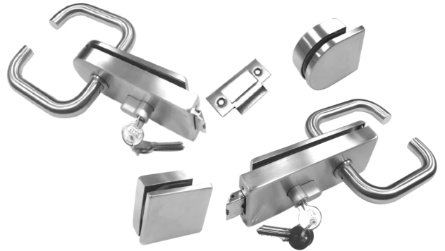 Glass Door Lock with Return-to-Door Lever Handles
