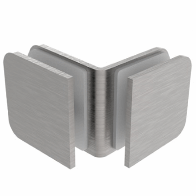 Square Glass Clip - Satin Stainless Steel