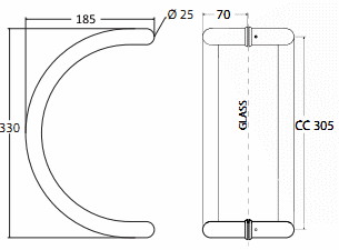 Curved Pull Handles for Glass Door