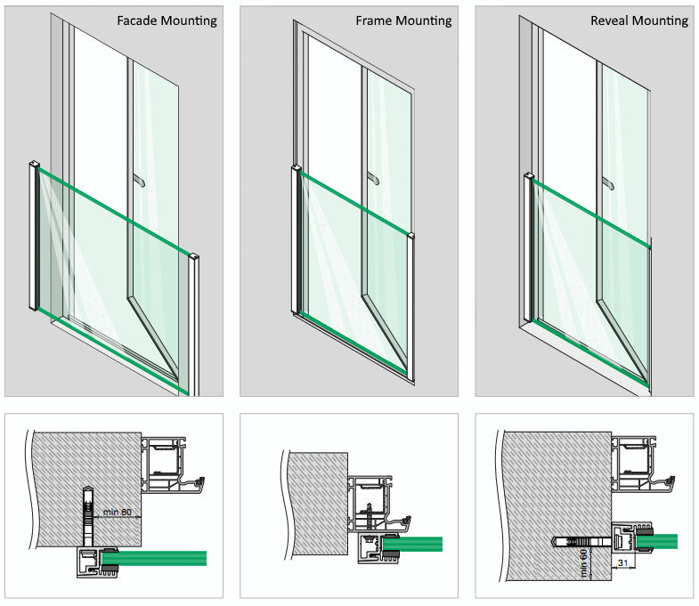 Juliet Balcony Profiles H 1100mm For Glass 12 21 52mm