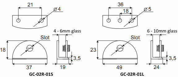 Dimensions of Curved Glass Brackets