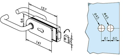 Stainless Steel Lock with Lever handles for Glass Door Dimensions